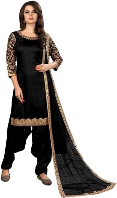 Amazon Com Wedding Party Wear Punjabi Patiala Art Silk Salwar Kameez Muslim Women Suit 9805 Clothing