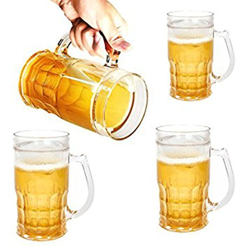 Plastic-Jumbo-Beer-Mugs-Giant-Beer-Glasses-26oz-EASY-to-Hold-Handle-with-no-STRESS-on-your-Arm-Beer-Glasses-Dimple-Stein-Acrylic-set-of-4-Shatter-Proof-Crystal-Clear-Dimpled-Rugged