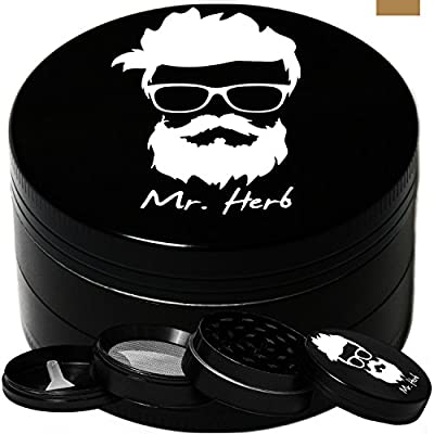 Mr. Herb Premium Grinder For Herb , Tobacco , Weed and Spice 4- Piece Chamber Shredder Crusher With Pollen Catcher & Scraper 1.96 Inch