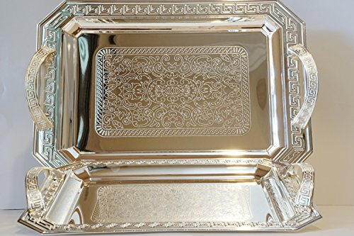 (Home N Kitchenware Collection (2 Piece Set) Silver Plated Decorative Food/Coffee Serving Tray; Rectangular Shape Charger Plate; Beautiful Mediterranean Design)