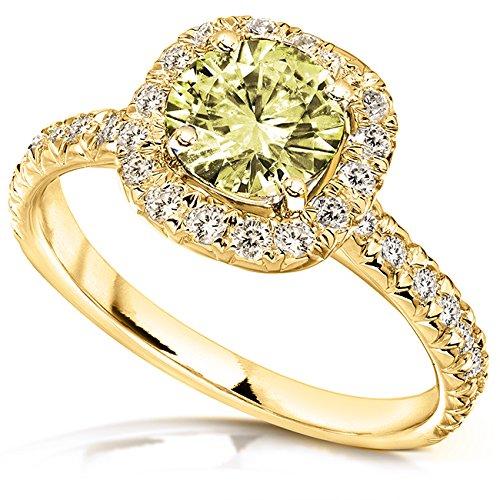 Jaune avec zircons ronds et diamant Bague de Fiançailles en Or 912/5carats (ctw) en or 14K or jaune 5.014K _ _ _ _ _ _ _ _