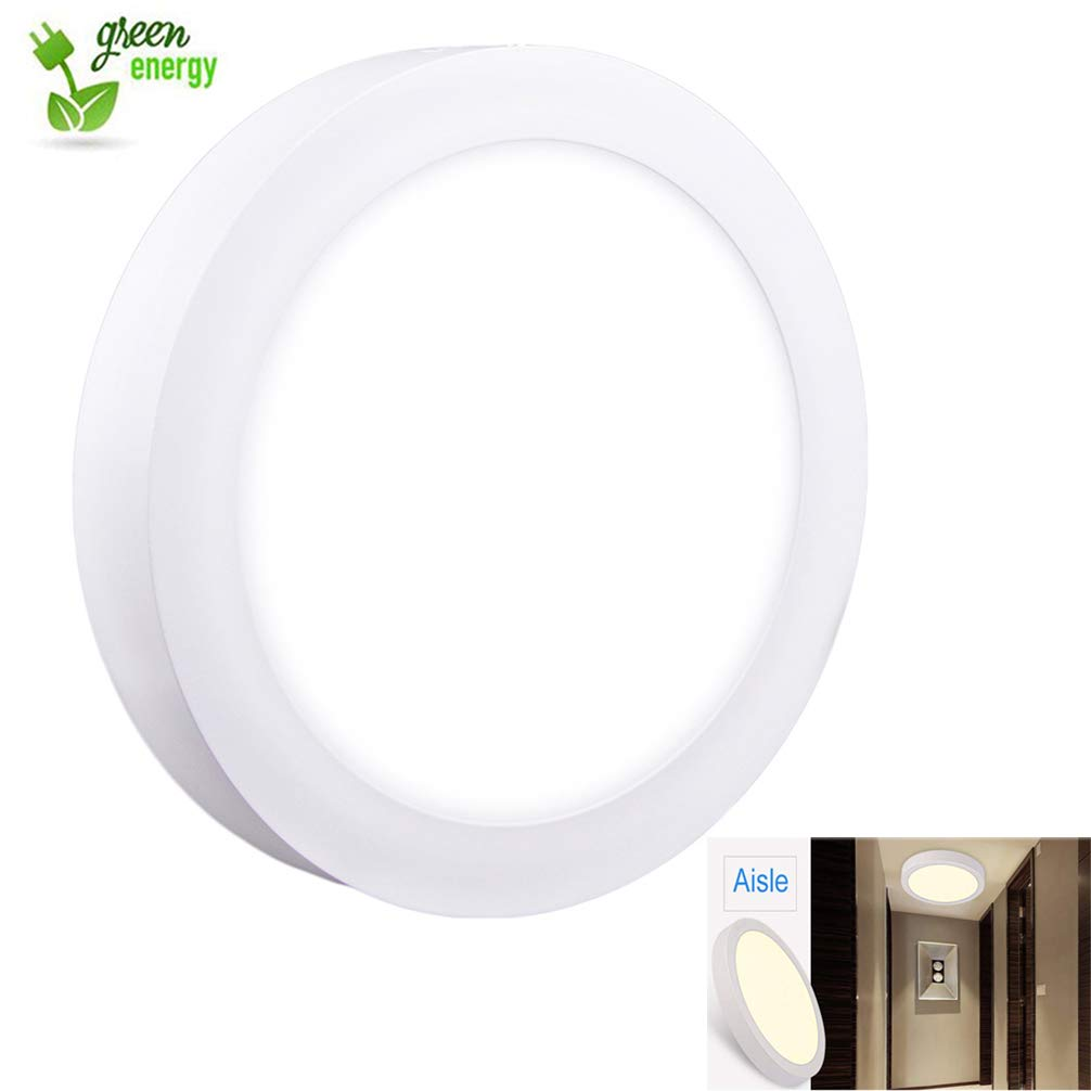 Surface mount led ceiling light 18w round led panel light 3000k warm white for kitchencloset bedroom cabinet 1440lm not dimmable120 watt halogen bulb