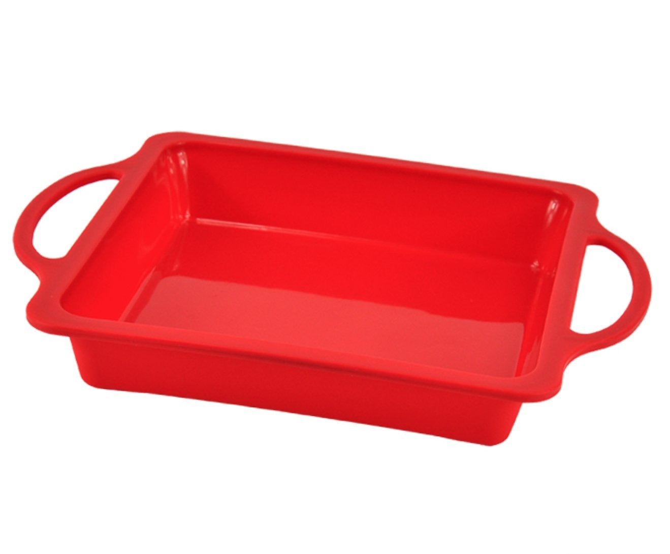 Nonstick Sturdy Handle Square Brownie Cake Baking Pan 8 Inch - Patented Metal Reinforced Silicone Pans - 8x8 Inches Non Stick Caramel Brownies Tray - Bake Boss BPA Free Cakes Mold - Dishwasher Safe