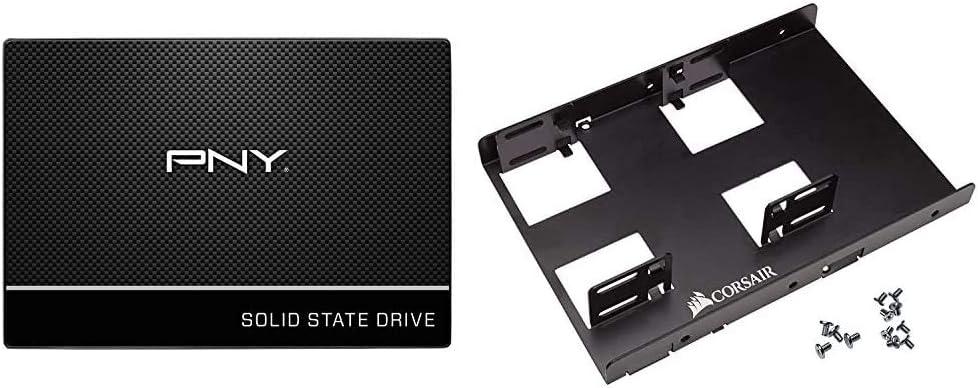 PNY CS900 250GB 2.5 Inch SATA III Internal Solid State Drive (SSD) - (SSD7CS900-250-Rb) & Corsair Dual SSD Mounting Bracket 3.5