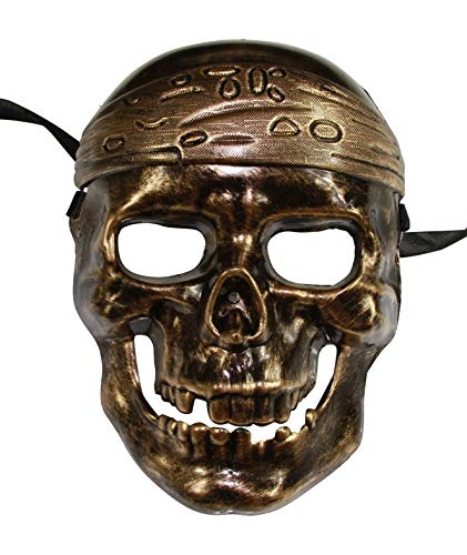 Caribbean Pirate Skull Face Halloween Mask (Gold)]()
