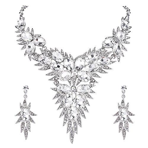 BriLove Wedding Bridal Necklace Earrings Jewelry Set for Women Crystal Multi Oval-Shape Flower Leaf Enamel Statement Necklace Dangle Earrings Set Clear Silver-Tone