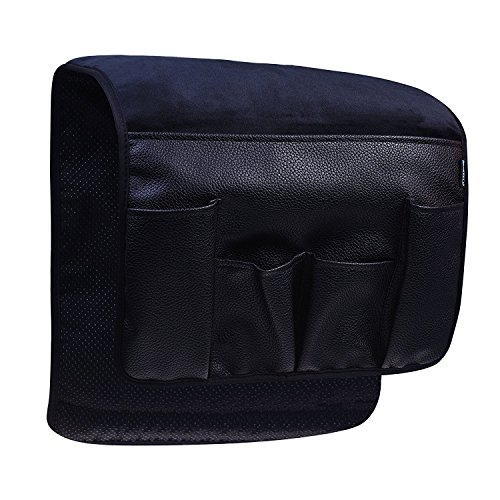 BCP Black Color Velvet Sofa Couch Chair Armrest Soft Caddy Organizer Holder for Remote Control, Cell Phone, Book, (La Z-boy Leather Arm Chair)