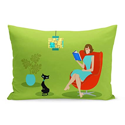 Aikul Throw Pillow Covers Mid Retro Reading Woman Century Modern Book Club Pillow Case Cushion Cover Lumbar Pillowcase Decoration for Couch Sofa Bed ...