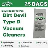 25 Dirt Devil Type D Vacuum Bags Generic Part By ZVac. Replaces Part Numbers 3-670148-001 Fits: Royal Dirt Devil Profile, Toughtmate, Lite, Lite Plus, Impulse, Select, Classic, Extra HP