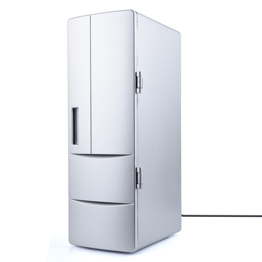 Nesix Beverage Refrigerator and Cooler - Mini Fridge Electric Cooler and Warmer for Soda Beer or Wine - Portable USB Small Drink Dispenser Freezer Machine for Office or Bar with Door (Silver)