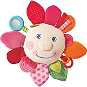 HABA Cuddly Spring Flower Teether Activity Toy - Machine Washable with Rattle Squeak and Crinkle Elements