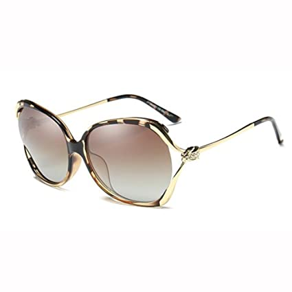1f36d1c97d4 WX xin Sunglasses Female Polarized Light Big Box Fashion Drive Round Face  Hollow Rhinestone Glasses (Color   Leopard)  Amazon.co.uk  Kitchen   Home