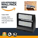 Wall Pack LED Lighting - 80W LED Powered Rotatable Wall Packs - Adjustable Outdoor Security Lighting, 10875 Lumens - 5000K - (UL+DLC)