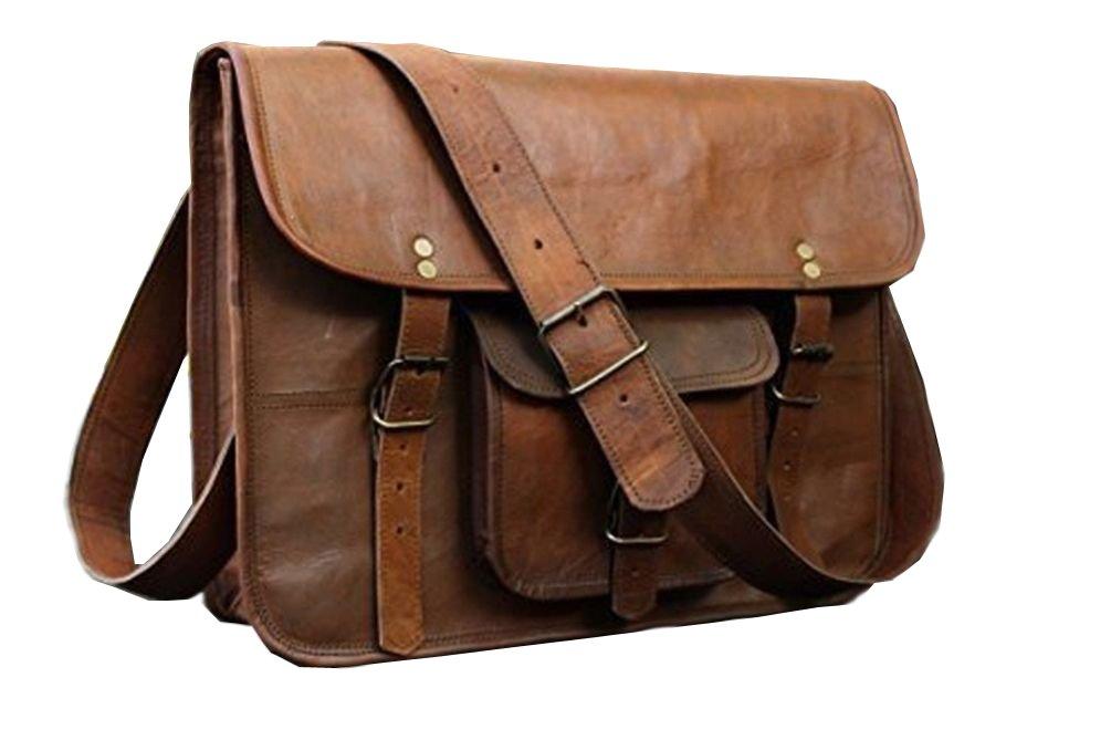 HLC Leather Unisex Real Leather Messenger Bag for Laptop Briefcase Satchel …