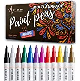 Paint pens for Rock Painting, Stone, Ceramic, Glass, Wood, Canvas. Set of 12 Acrylic Paint Markers Extra-fine tip: more info