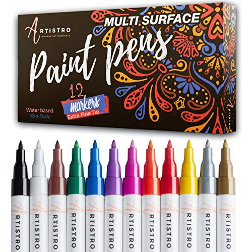 Paint pens for Rock Painting, Stone, Ceramic, Glass, Wood, Canvas. Set of 12 Acrylic Paint Markers Extra-fine tip