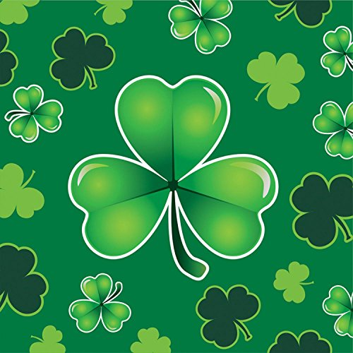 Club Pack of 192 Green St. Patrick's Day Clover Beverage Napkins 5""