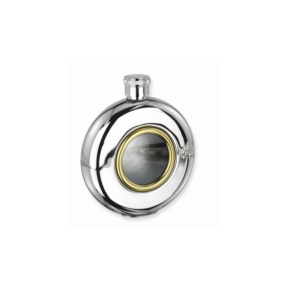 Goldia Glass Window Stainless Steel and Gold-tone 5oz Round Flask - Etching Gift Item, NEW