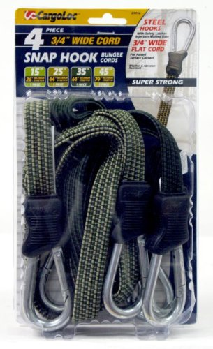 CargoLoc 89956 Snap-Hook Flat Bungee Cords Assortment, 4-Piece
