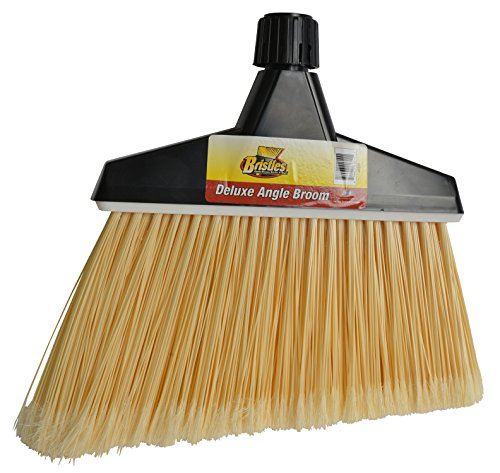 Janico 4056 Bristles Angle Broom, Flagged Bristles, Screw Clamp Metal Handle, Natural by Bristles