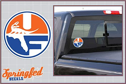 Florida Gators WHITE BLOCK F LOGO 4 Cut Vinyl Decal Car Truck Window UF Baseball Sticker FBA