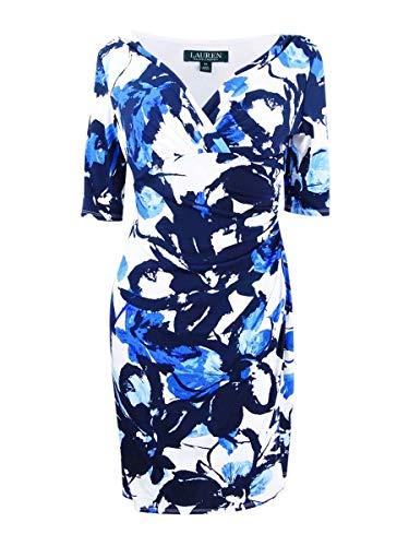 Lauren Ralph Lauren Women's Chelsie Azrou Floral Dress Colonial Cream/Lighthouse Navy/Blue 14