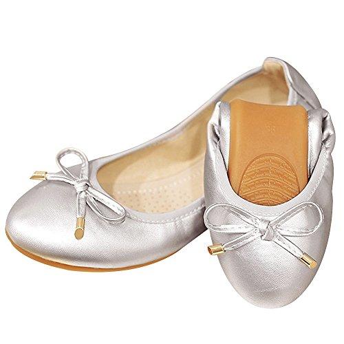 Rismart Danza Su Donna Ballerine Argento Scivolare Piatto Bowknot Scarpe Elegante Morbido rrxRAq