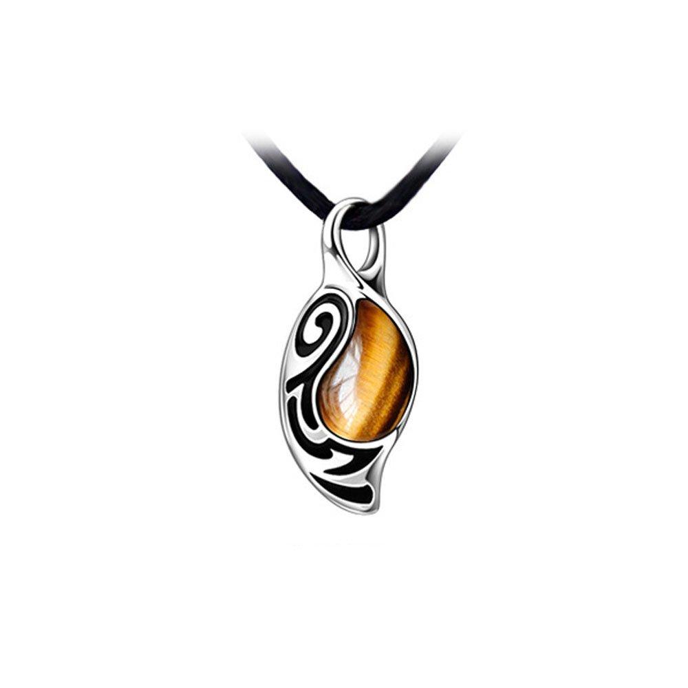 YANGXIAO Black Onyx Pendant Necklace Men's Vintage Style The Faith Tiger's eye Stone Pendant Necklace (Yellow)