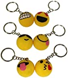 Flashing Emoji LED Emoticon Light-Up Favors Keychains, 1 Dozen