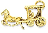 ICE CARATS 14k Yellow Gold Solid 3 Dimensional Horse Carriage Pendant Charm Necklace Animal Travel Transportation Fine Jewelry Gift Set For Women Heart