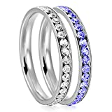 3mm Stainless Steel Eternity Clear & Blue Sapphire Color Crystal Stackable Wedding Band Rings (2 pieces) Set, Size 7
