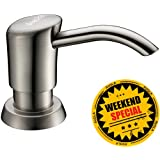 Avola Modern Kitchen Soap Dispenser, Brushed Nickel ABS Pump Head with 13 Ounce PET Bottle, 3 Inch Nozzle