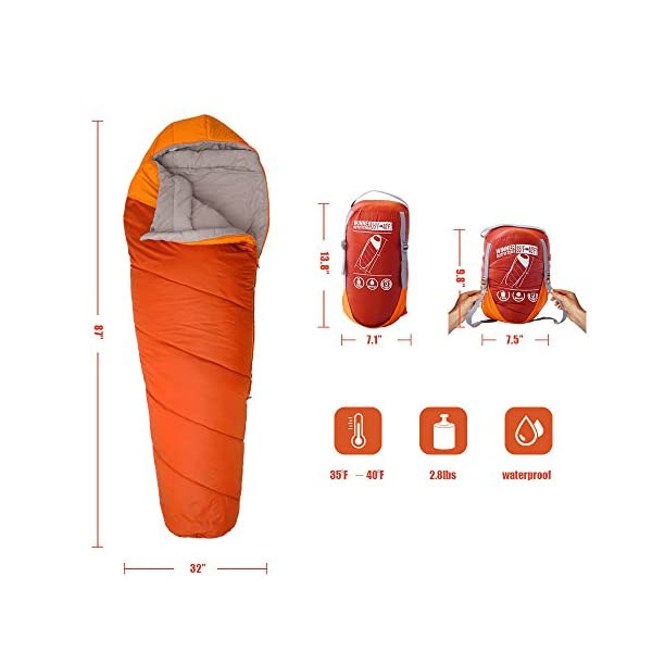 Winner Outfitters Mummy Sleeping Bag With Compression Sack Its Portable And Lightweight For 3 4 Season Camping Hiking Traveling Backpacking And Outdoor Activities