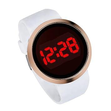 Reloj de pulsera LED para hombre, KanLin1986 Reloj de pulsera para hombre, pantalla táctil LED, correa de silicona, números digitales (Blanco): Amazon.es: ...