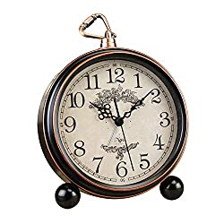 JUSTUP 5.5 Classic Retro Clock, European Style Vintage Silent Desk Alarm Clock Non Ticking Quartz Movement Battery Operated, HD Glass Lens, Easy to Read (SZ01)