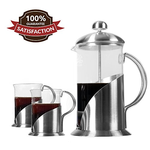 French Press Coffee, Tea & Espresso Maker By Pura Vida - Durable 304 Stainless Steel Construction (20 Ounce 5 Cups)