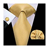 Hi-Tie Men Gold Yellow Check Plaid Tie Necktie with Cufflinks and Pocket Square Tie Set