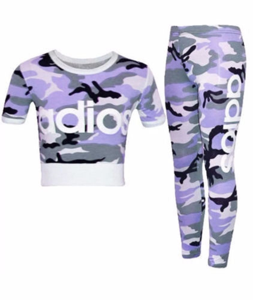Children's Girls Adios Print Camouflage Army Crop Top Leggings Bottoms Two-Piece Set Tracksuit 2-13 Years