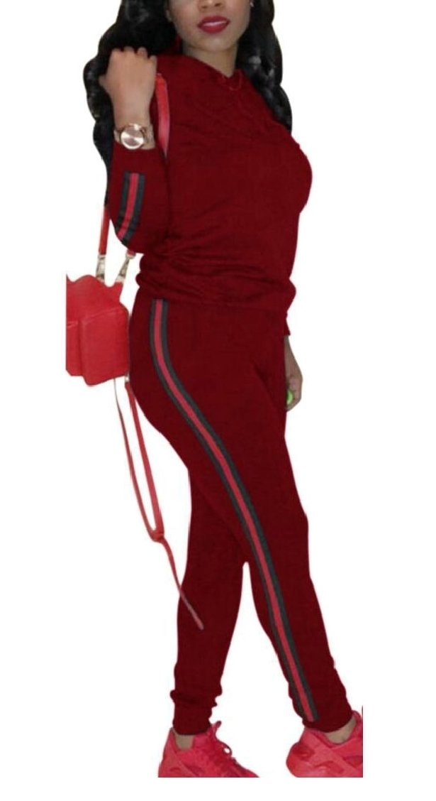 TD-CACA Women's Casual Long Sleeve Hoodie Tops and Pants Sport Suits Tracksuits