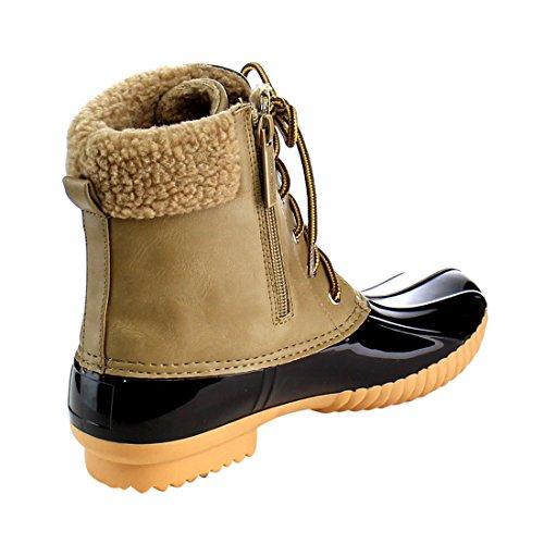 Frauen Wasserdichte Regen Booties Duck Gepolsterte Schlamm Gummi Schnee Kunstpelz Lace Up Ankle Boots Taupe-2