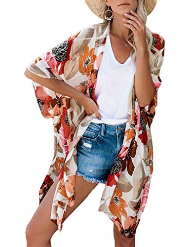 (Long Kimonos for Women Boho Style Open Front Beach Cover-Ups Chiffon Jacket Resort Wear Beach Wear Cover Up (Floral, L))