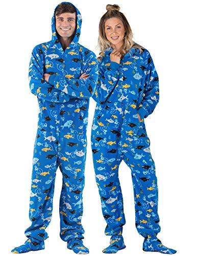 Footed Pajamas - - Shark Frenzy Adult Hoodie Fleece Onesie