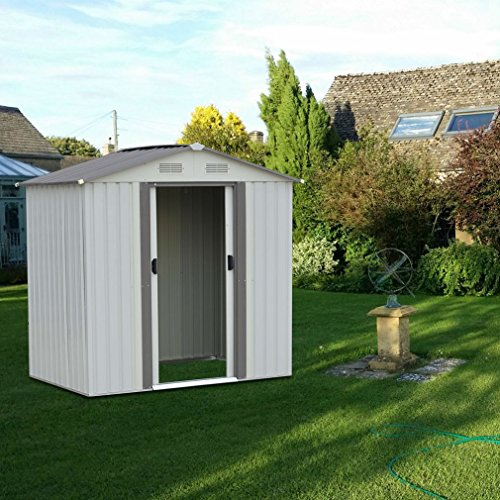 4x6ft Outdoor Garden Storage Shed w/ Sliding Door | Backyard Lawn Galvanized Steel Tool Shelter without Floor Frame -White Outdoor Tool House by Blackpoolfa by Blackpoolfa