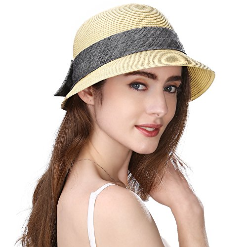 [Siggi Womens Floppy Summer Sun Beach Panama Straw Hats UPF50+ Foldable Bucket Cloche Hat 56-59CM] (Straw Safari Hat)