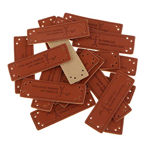 20-Piece Vintage PU Leather Label Sew on Labels with 8 Holes Engraved Tags   Style - Iron Tower Pattern - Mod Dog Tag Necklace