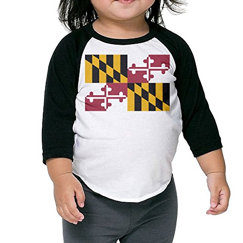 Maryland Flag Map Unisex Kids 3/4 Sleeves Raglan T Shirts Child Youth Slim Fit Sports Uniforms 4 - 3 Witcher Sunglasses