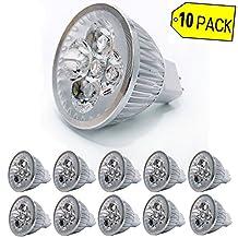 Bulb King 10Pack M16 Led Bulb GU5.3, 12V, 4W 100% Aluminum Reflector,Dimmable, 450lm,50W Halogen Equivalent 3200K Warm White,Spotlight, Recessed Lighting, Track Lighting,