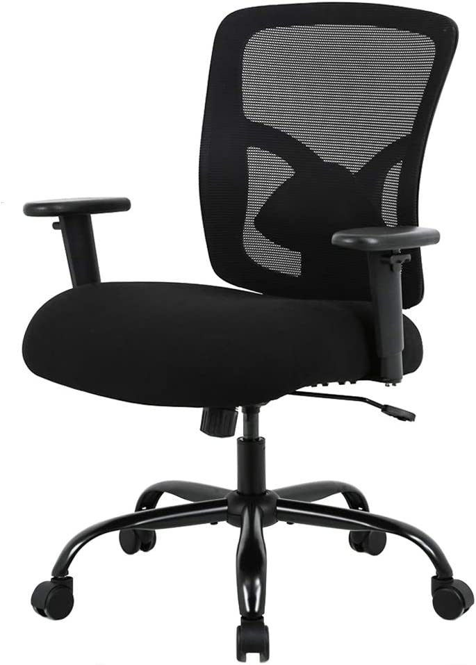 Big and Tall Office Chair 400lbs Wide Seat Desk Chair Computer Chair with Lumbar Support Adjustable Arms Task Rolling Swivel Mesh Executive High Back Ergonomic Chair for Adults Women,Black