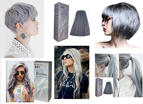 Amazon.com : Permanent Grey Hair Dye Color Cream Berina No. A21 Light Grey  Color New In Box Free Gloves : Beauty