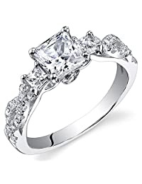 1.07 Carats Sterling Silver Princess Cut Cubic Zirconia Engagement Ring, Available In Sizes 5 To 9